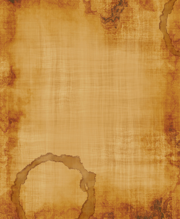 calico: a large image of old and worn fabric or paper with coffee stain Stock Photo