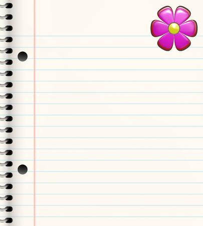 spiral bound book with bright pink flower in corner photo