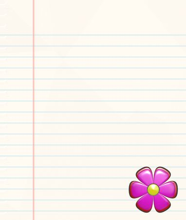 ruled: a large image of ruled paper with flower in corner