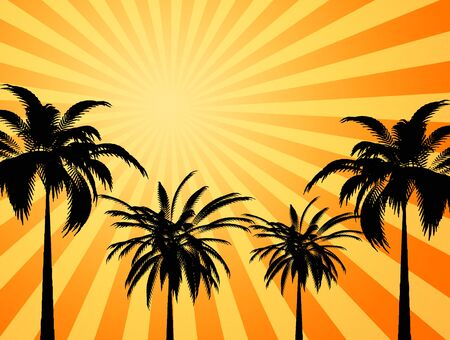 heatwave: large yellow and orange image of the hot summer sun beating down on palm trees
