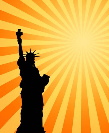 heatwave: image of the hot summer sun beating down on the statue of liberty Stock Photo