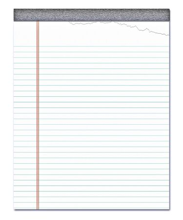 nice image of a white notepad with a page torn off photo
