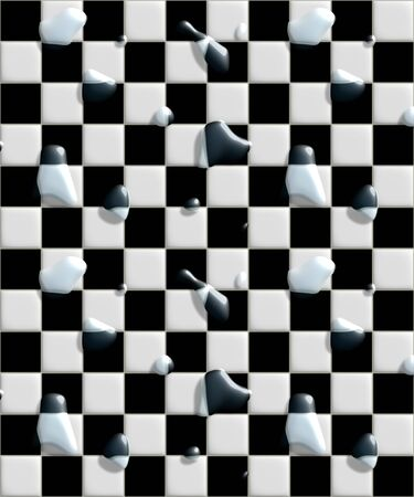 black and white floor tiles with water laying on them photo