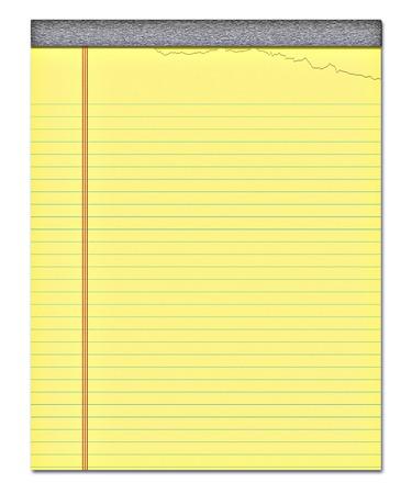 foglio a righe: Bella immagine di un giallo notepad con una pagina strappata off  Archivio Fotografico