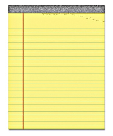 nice image of a yellow notepad with a page torn off Stock Photo
