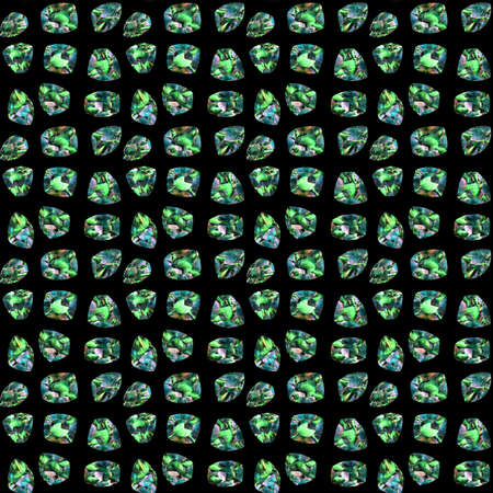 hoard: large image of a hoard of emerald gemstones on a black background