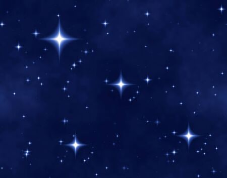 a nice blue star field of bright and shining stars and one bright star