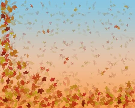 gently: large background image of autumn leaves gently falling down  Stock Photo