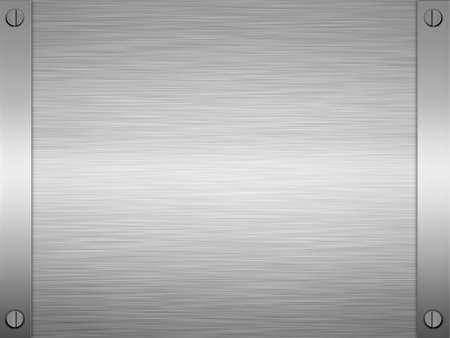 screwed: sheet of rendered brushed steel or metal Stock Photo