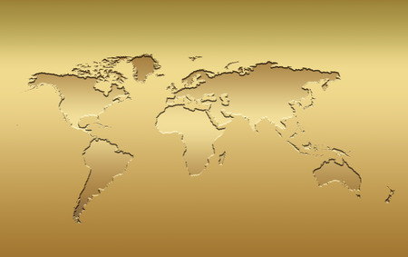 a 3d world map in metallic golden tones photo