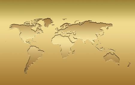 metal composition: a 3d world map in metallic golden tones