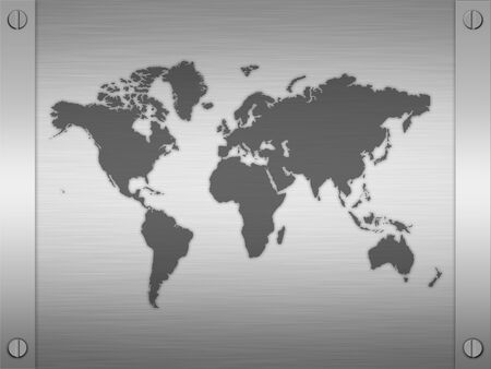 sheet of rendered brushed steel or metal with framing and map of the world photo