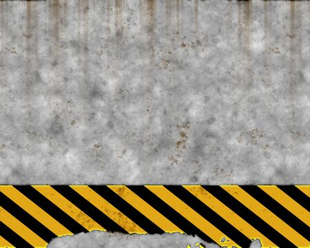 an old yellow and black hazard striped sign on a grungy concrete wall photo