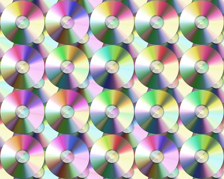 dvds: large image of rows of compact discs or dvds  Stock Photo