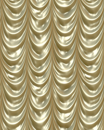 luxurious golden curtains draping down like in a theatre Stock Photo - 1657790