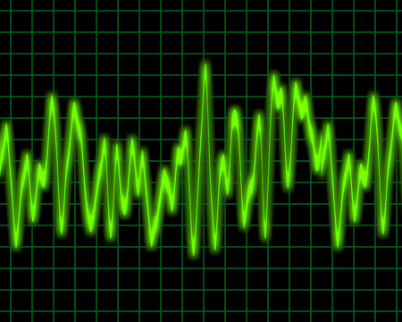 oscillations: image of a glowing audio or sine wave Stock Photo
