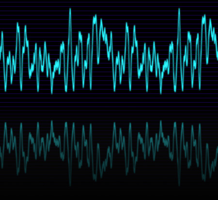 audiowave: image of a glowing audio or sine wave with reflection