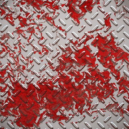 industrial accident, sheet of diamond or tread plate splashed in red blood Stock Photo - 1676807