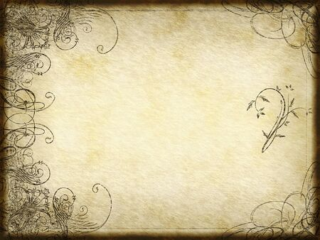 old pc: excellent swirling arabesque design printed on grungy paper background