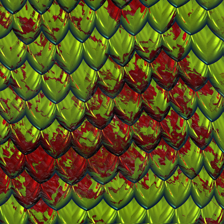 splashed: a large image of green shiny dragon scales or hide splashed with red blood Stock Photo