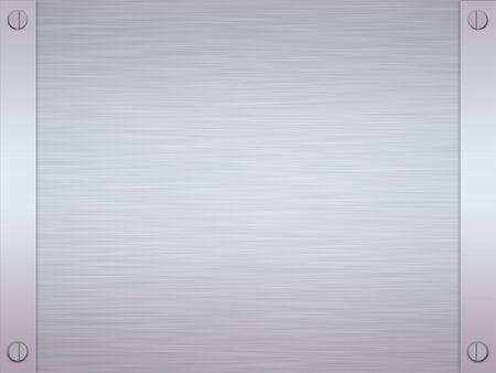 acier bross�?: Feuille de rendu en acier ou en m�tal bross� avec bordure et vis