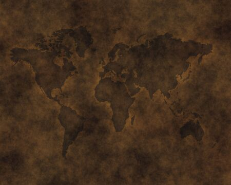 hide: map of the world carved into brown raw hide leather