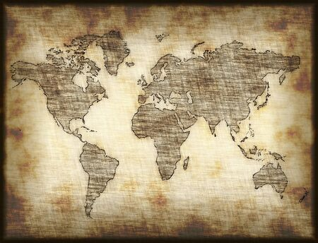 old pc: map of world drawn onto old mottled paper or cloth