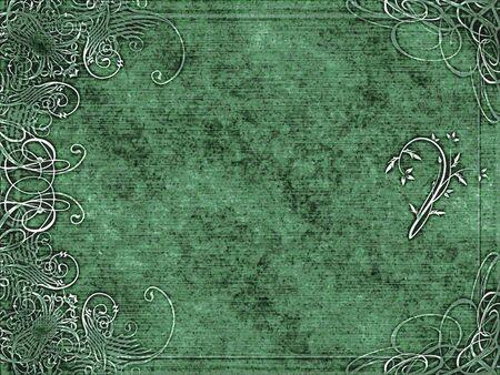 mottled: excellent swirling arabesque design printed on green mottled grunge background Stock Photo
