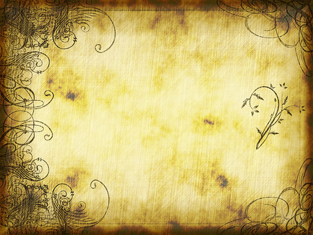 swirling: excellent swirling arabesque design printed on old grunge parchment background Stock Photo
