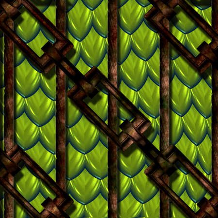 held down: green shiny reptile or dragon scales held down with rusty cables and chains Stock Photo
