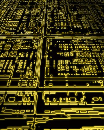 printed circuit board: �lectricit� brillantes jaune traverse le jury de la carte de circuit imprim�