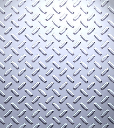 chequer: a very large sheet of cool silver or stainless steel diamond or tread plate Stock Photo