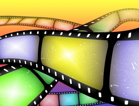 bollywood: abstract image of rolls of filmstrip or movie reel
