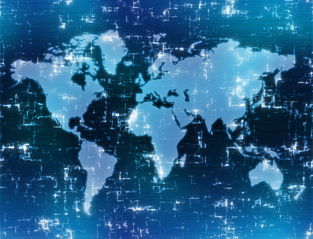 world map background image on high tech blue display  Stock Photo