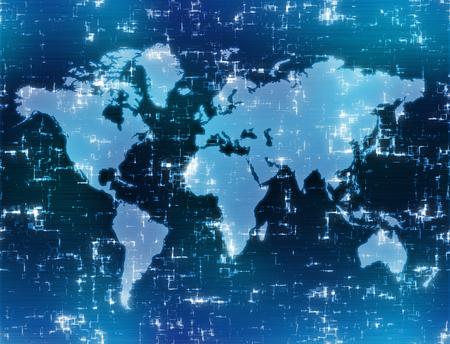 world map background image on high tech blue display  Reklamní fotografie