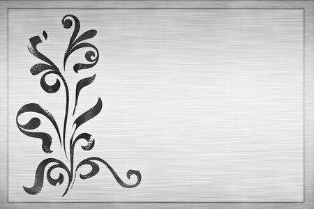 large floral grunge design on brushed metal plaque photo