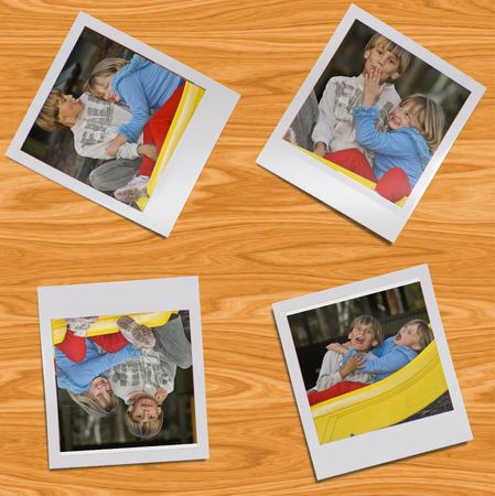 four frame style images of a young boy and girl sitting together on the playground left on a wooden table photo