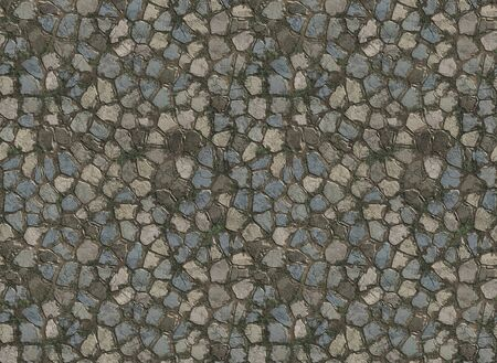 old stone pavers on the road or path Stock Photo