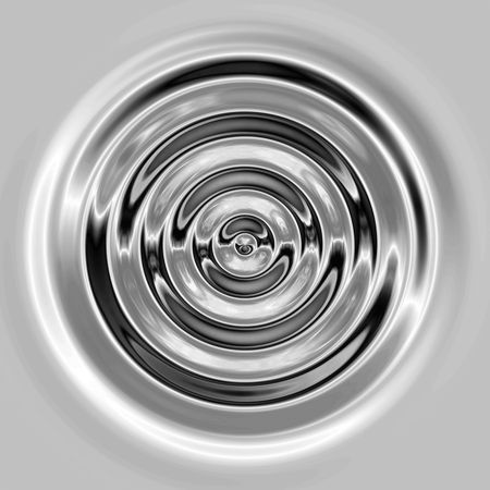a top down view of the rings of a perfect water like ripple in silver or chrome