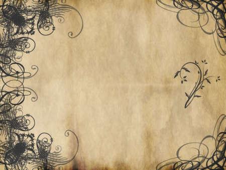 worn paper: arabescos dise�o impreso en papel viejo desgastado  Foto de archivo