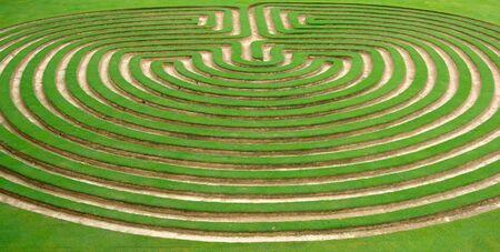 artisitc: beautiful green lawn cut into a garden maze Stock Photo