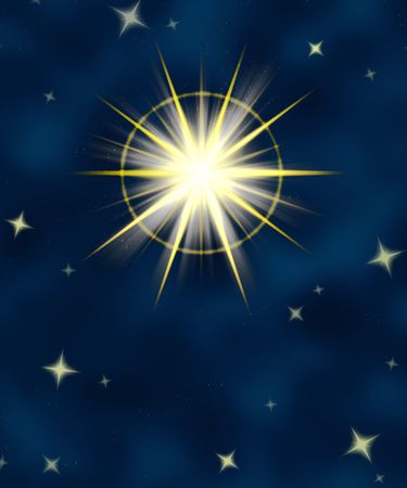 star field: great big star flare or shining christmas star