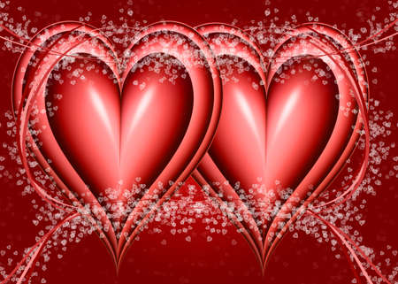 two big red hearts bound with ribbons and small hearts photo