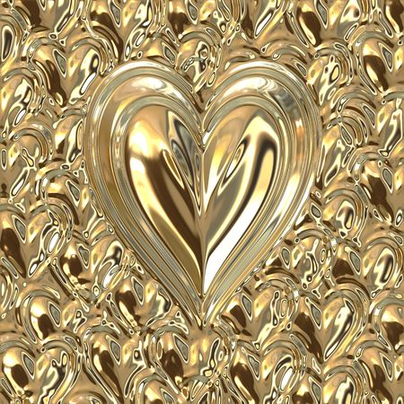 loveheart: big bright golden metallic heart on small gold hearts