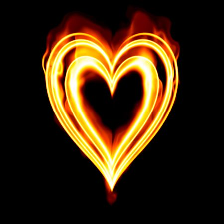 heart burn: heart on fire to symbolise burning passion and love