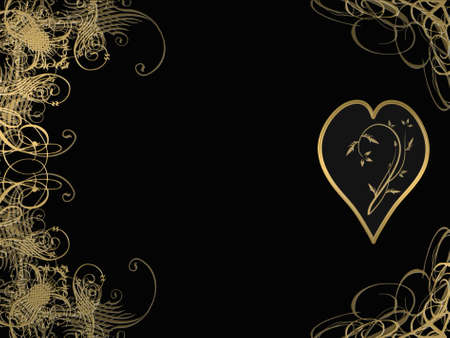 elegant golden arabesque design with love heart photo