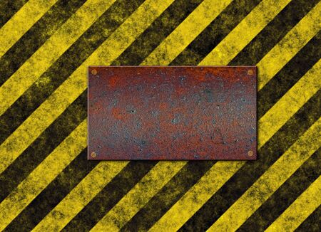 rusted: old grungy yellow hazard stripes with rusted metal plaque