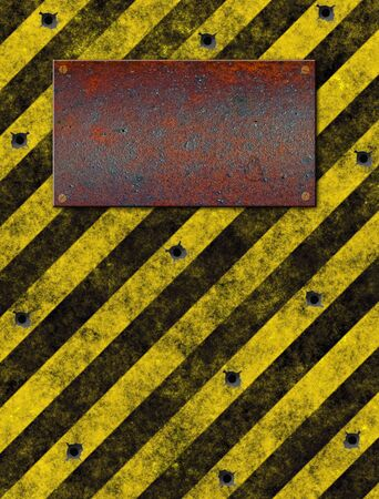 rusted: old grungy yellow warning sign with rusted metal plaque and bulletholes