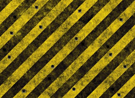 old grungy yellow hazard stripes on black road full of bulletholes Stock Photo - 2388349