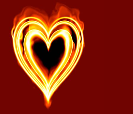 burning love: love heart burning in flames on red  Stock Photo